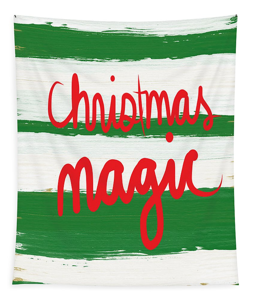 Christmas Tapestry featuring the mixed media Christmas Magic - Greeting Card by Linda Woods