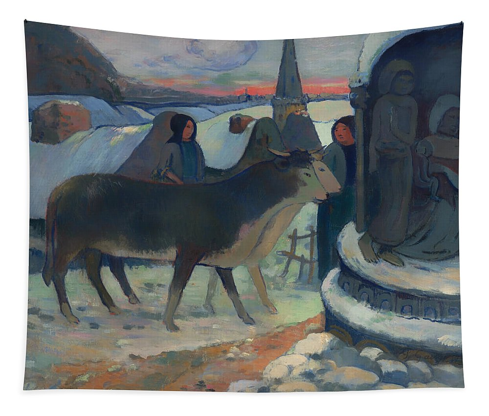 Painting Tapestry featuring the painting Christmas Night Blessing Of The Oxen by Mountain Dreams