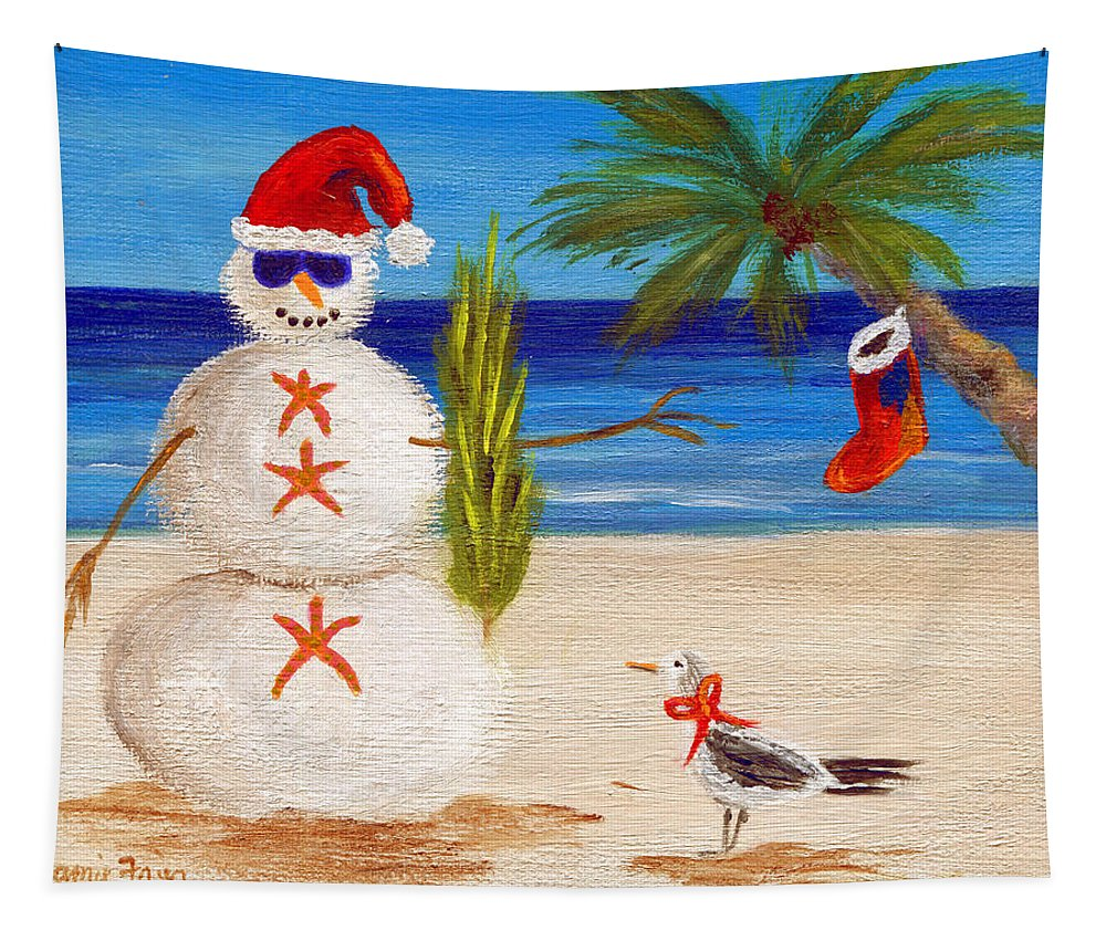 Christmas Tapestry featuring the painting Christmas Sandman by Jamie Frier