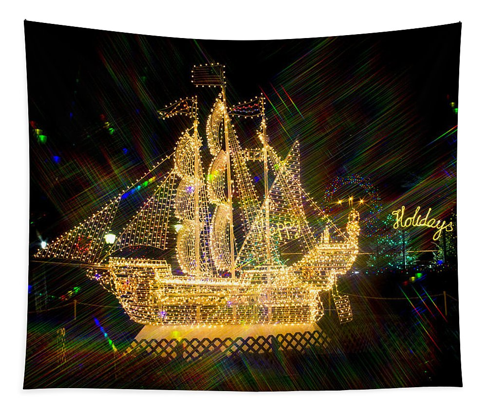 Christmas Ship Tapestry featuring the photograph Christmas Ship 2 by Robert Storost