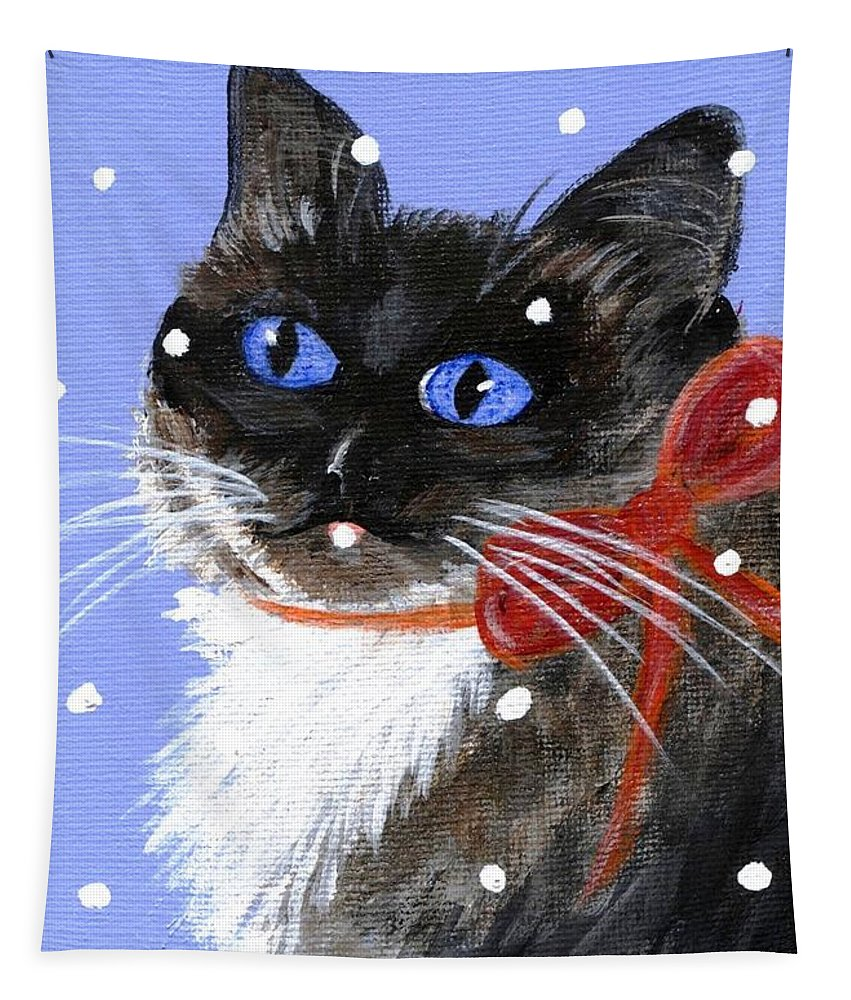 Christmas Tapestry featuring the painting Christmas Siamese by Jamie Frier