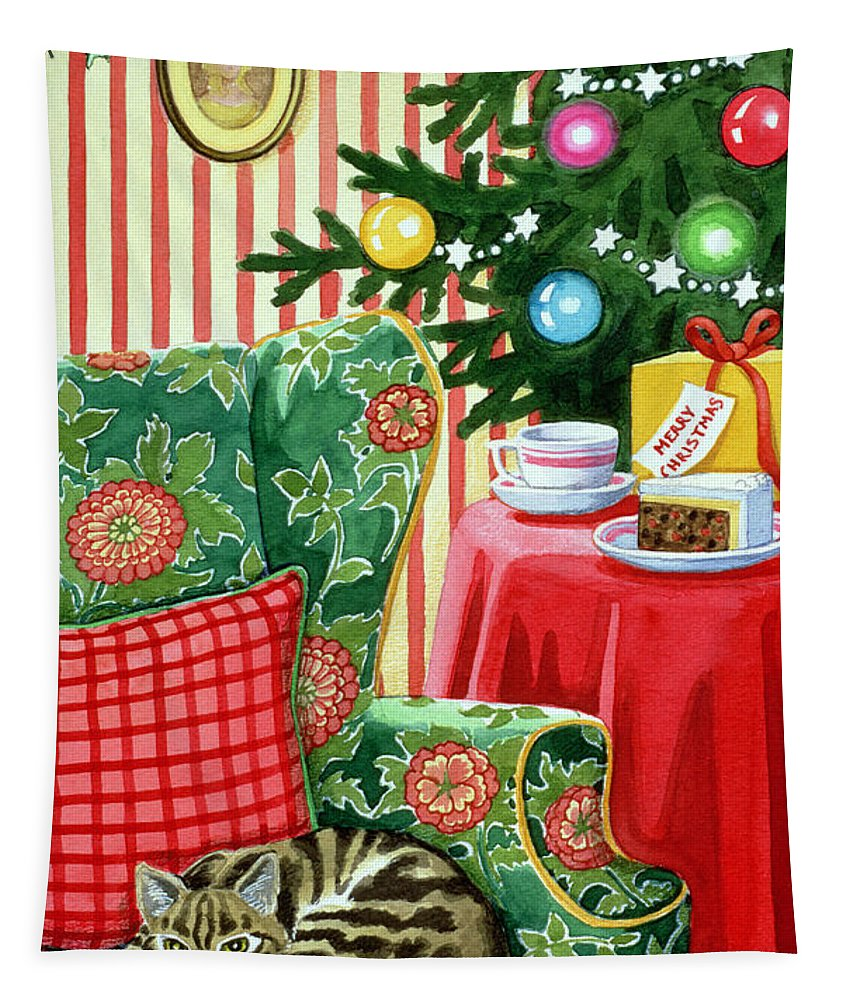 Christmas Tapestry featuring the painting Christmas Tea by Lavinia Hamer