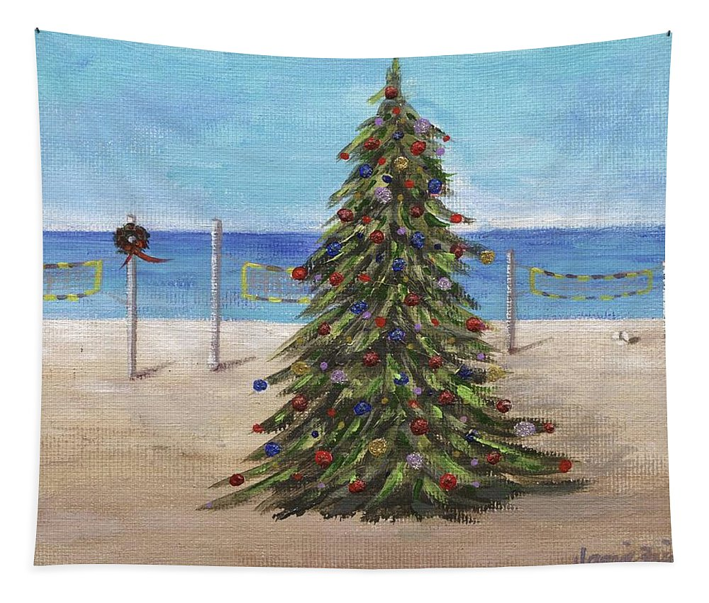 Christmas Tapestry featuring the painting Christmas Tree At The Beach by Jamie Frier