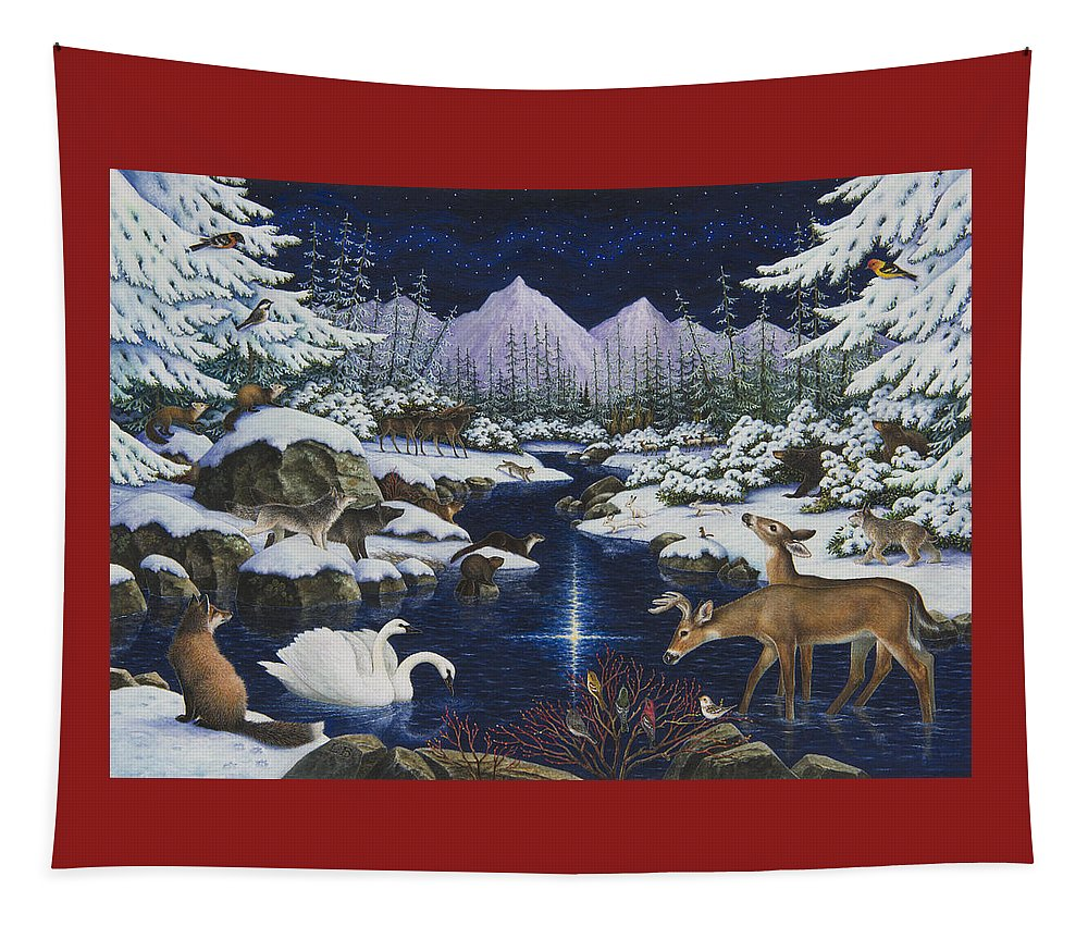 Christmas Tapestry featuring the painting Christmas Wonder by Lynn Bywaters