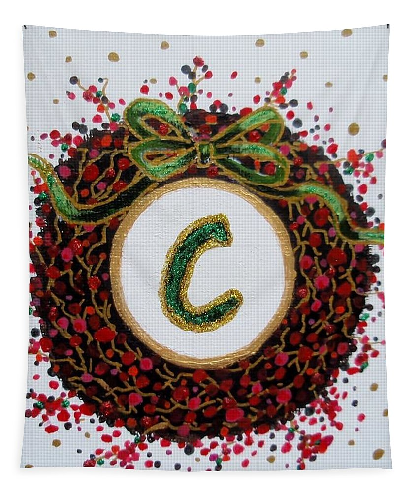 Christmas Tapestry featuring the painting Christmas Wreath Initial C by Jamie Frier