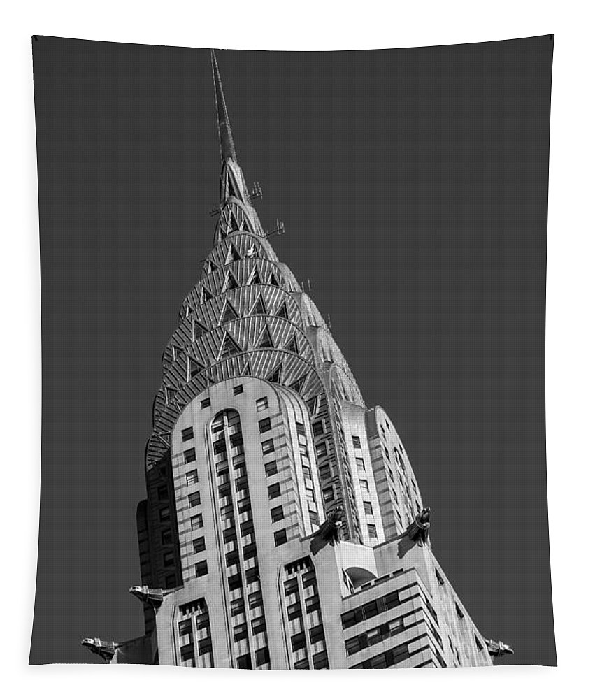 Chrysler Building Tapestry featuring the photograph Chrysler Building Bw by Susan Candelario