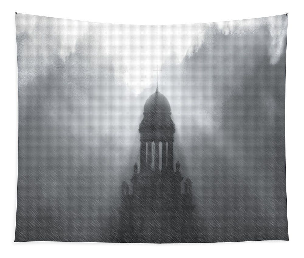Church Tapestry featuring the photograph Church In The Storm by Kellice Swaggerty