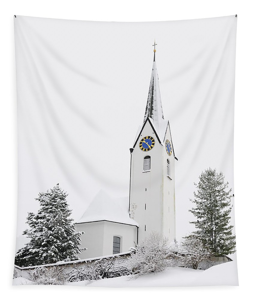 Church Tapestry featuring the photograph Church In Winter by Matthias Hauser