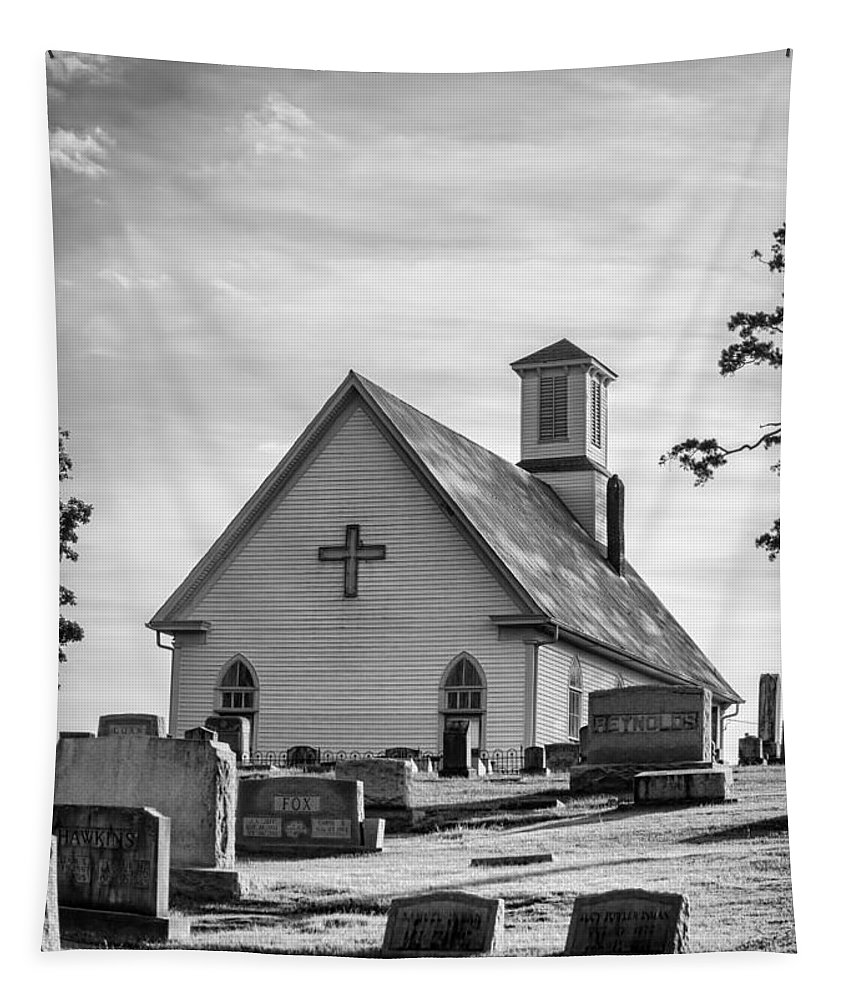 Church Tapestry featuring the photograph Churchyard Bw by Heather Applegate