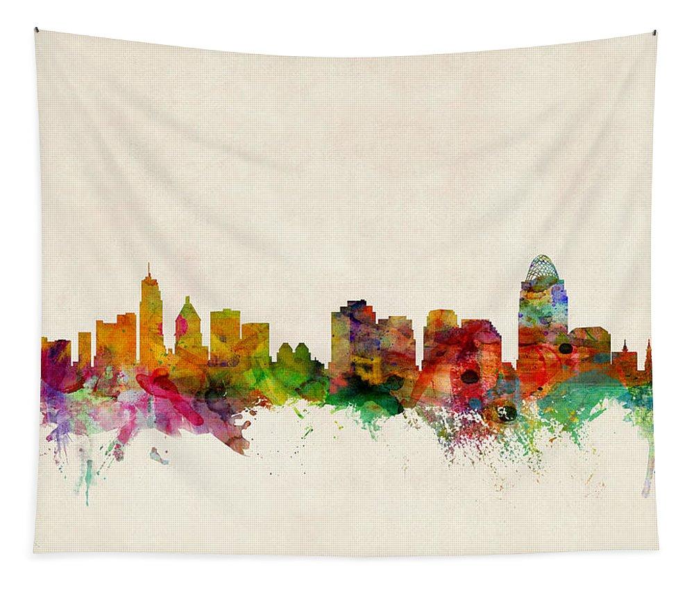Watercolour Tapestry featuring the digital art Cincinnati Ohio Skyline by Michael Tompsett