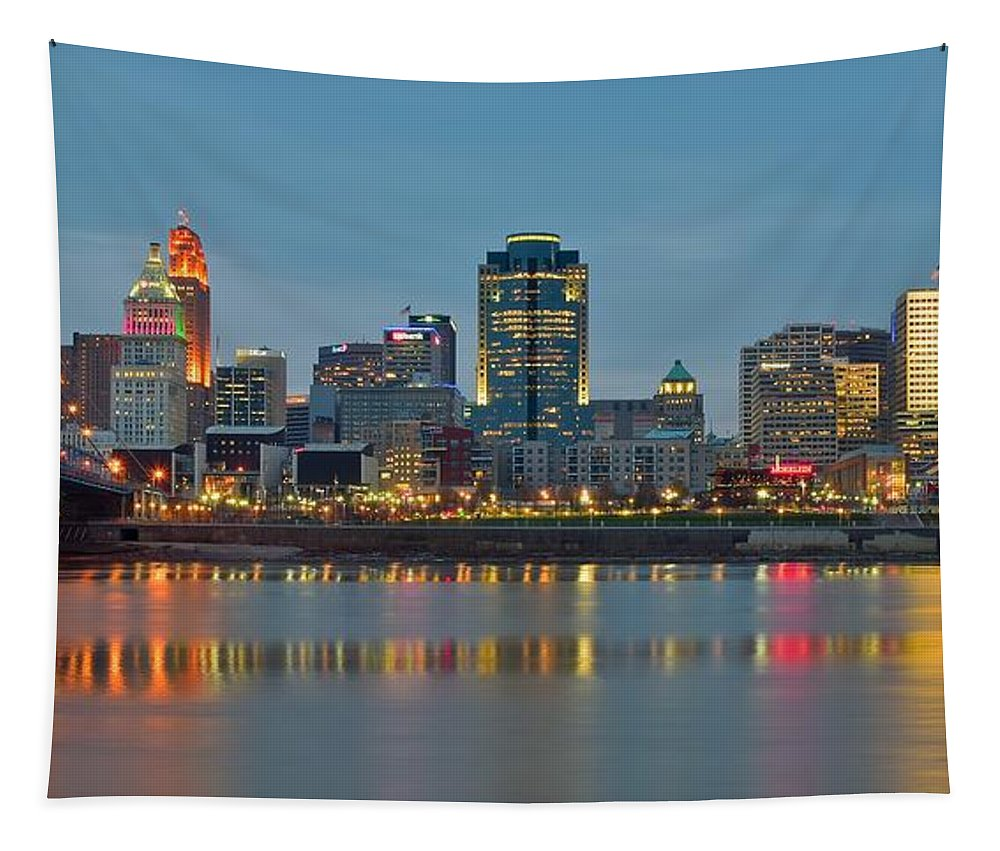 Cincinnati Tapestry featuring the photograph Cincinnati On The Riverfront by Frozen in Time Fine Art Photography