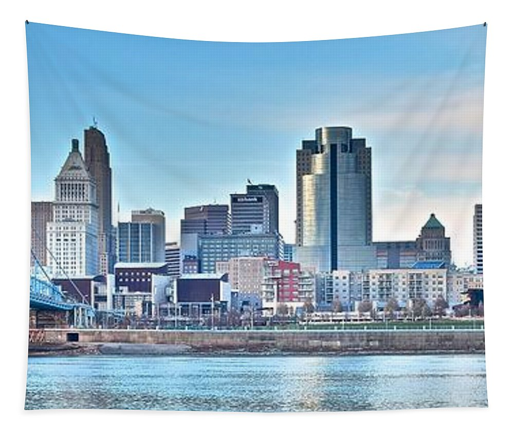 Cincinnati Tapestry featuring the photograph Cincinnati Panorama by Frozen in Time Fine Art Photography