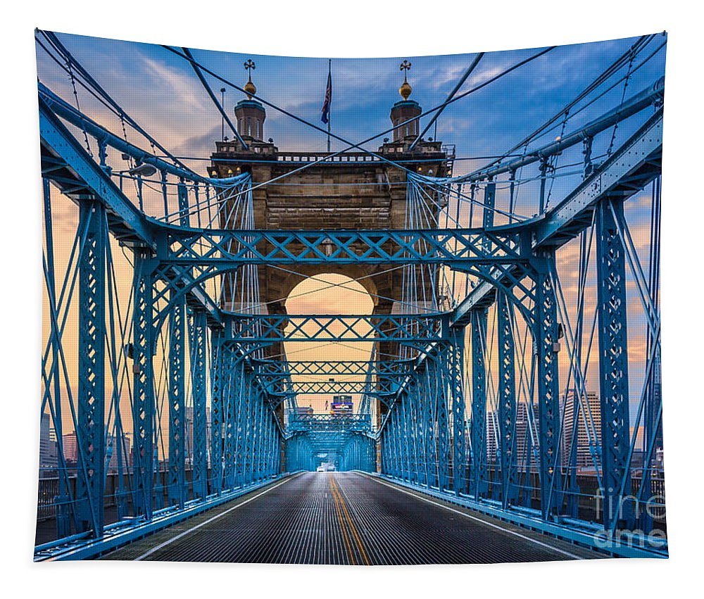 America Tapestry featuring the photograph Cincinnati Suspension Bridge by Inge Johnsson