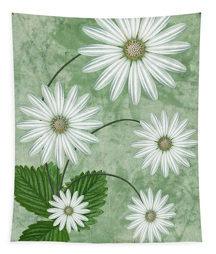 Abstract Flowers Tapestry featuring the digital art Cinco by John Edwards