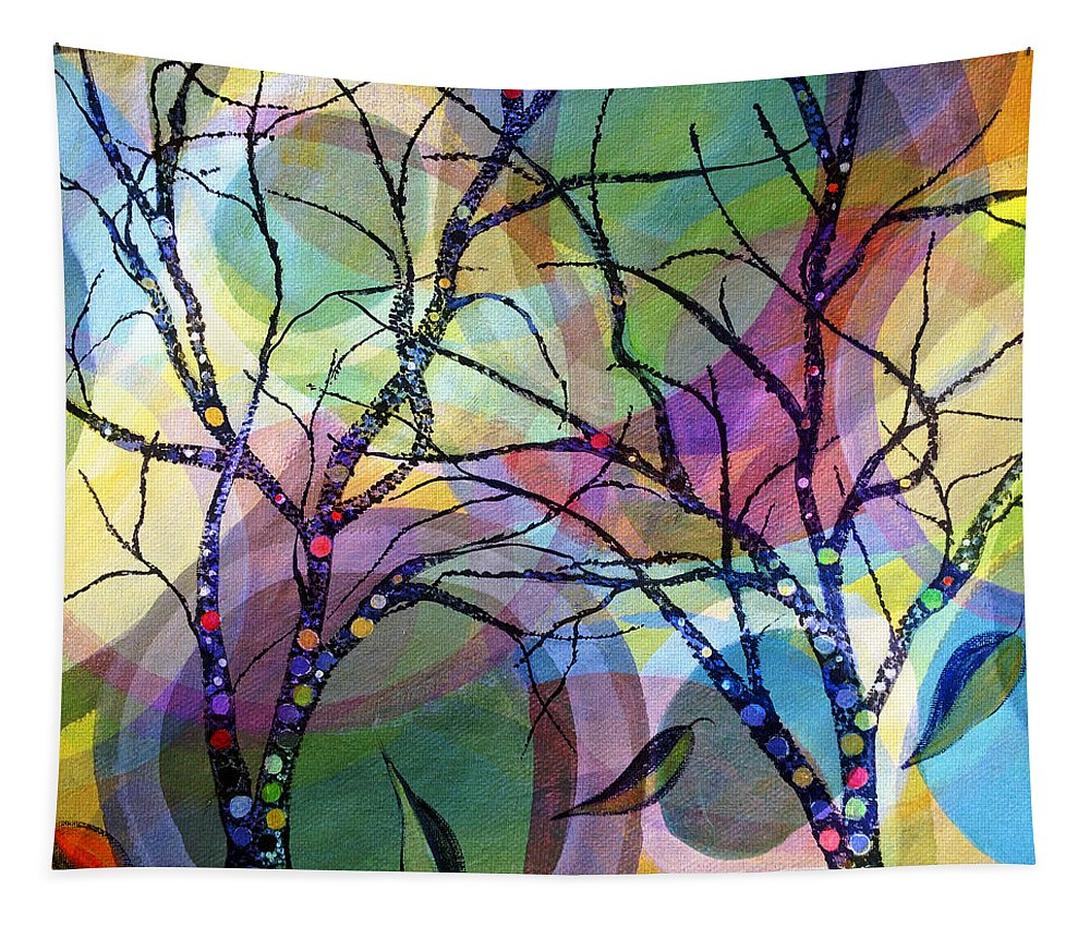 Abstract Tapestry featuring the painting Circle Trees by Ruth Palmer