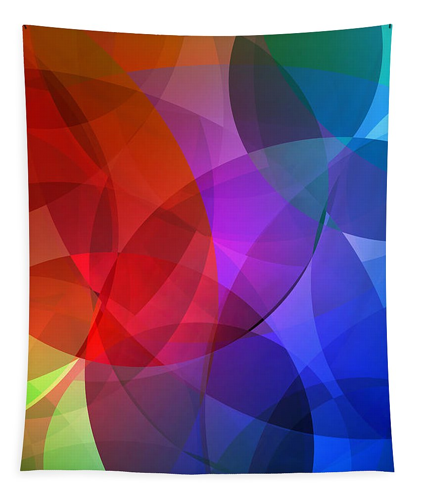 Circle Tapestry featuring the mixed media Circles In Colorful Abstract by Design Turnpike