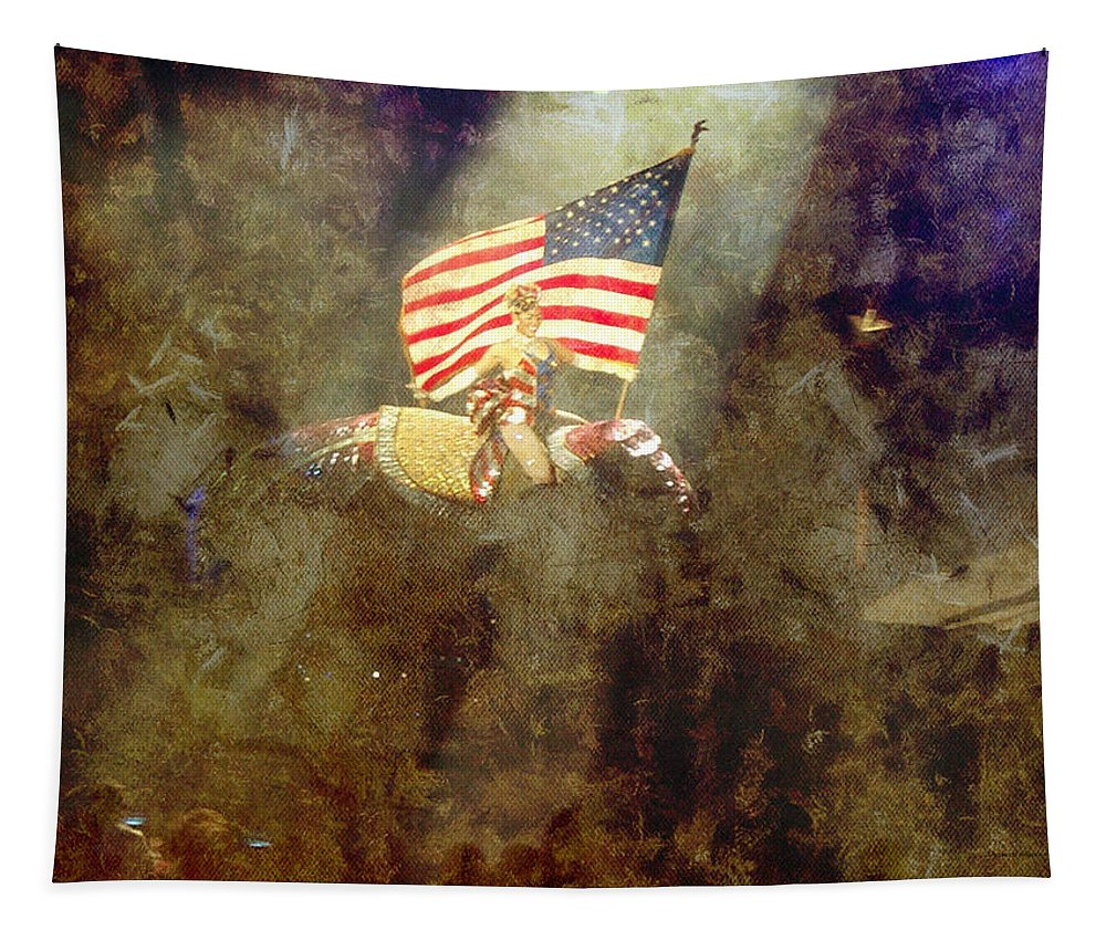 Elephant Tapestry featuring the photograph Circus Usa Flag by Thomas Woolworth