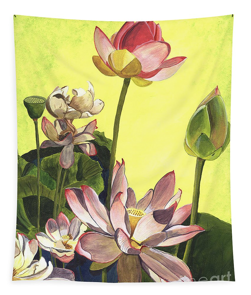 Floral Tapestry featuring the painting Citron Lotus 1 by Debbie DeWitt