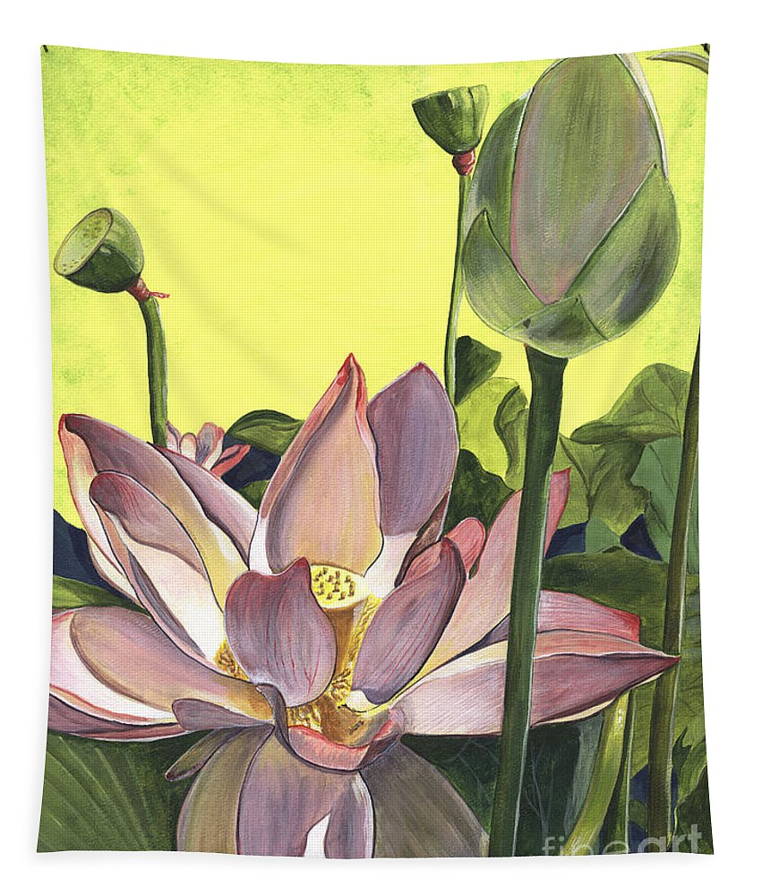 Floral Tapestry featuring the painting Citron Lotus 2 by Debbie DeWitt