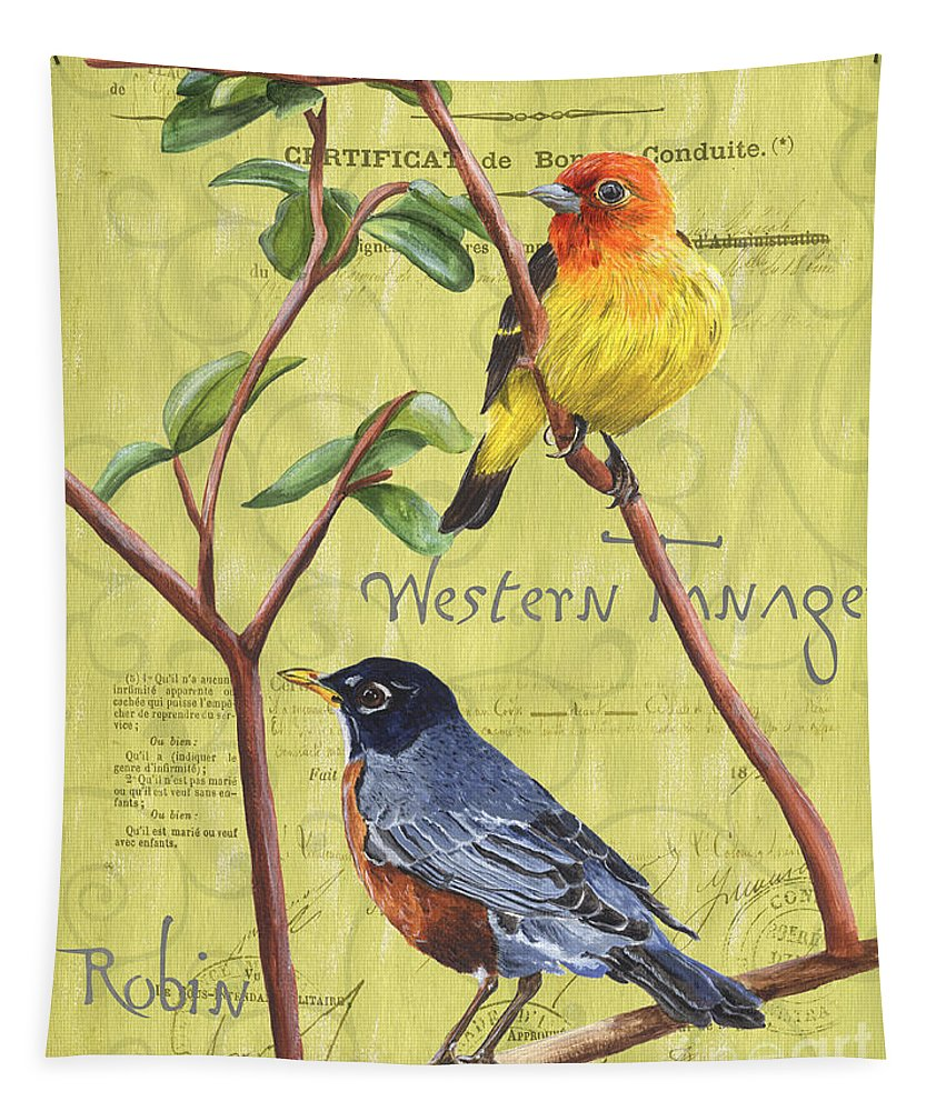 Bird Tapestry featuring the painting Citron Songbirds 2 by Debbie DeWitt