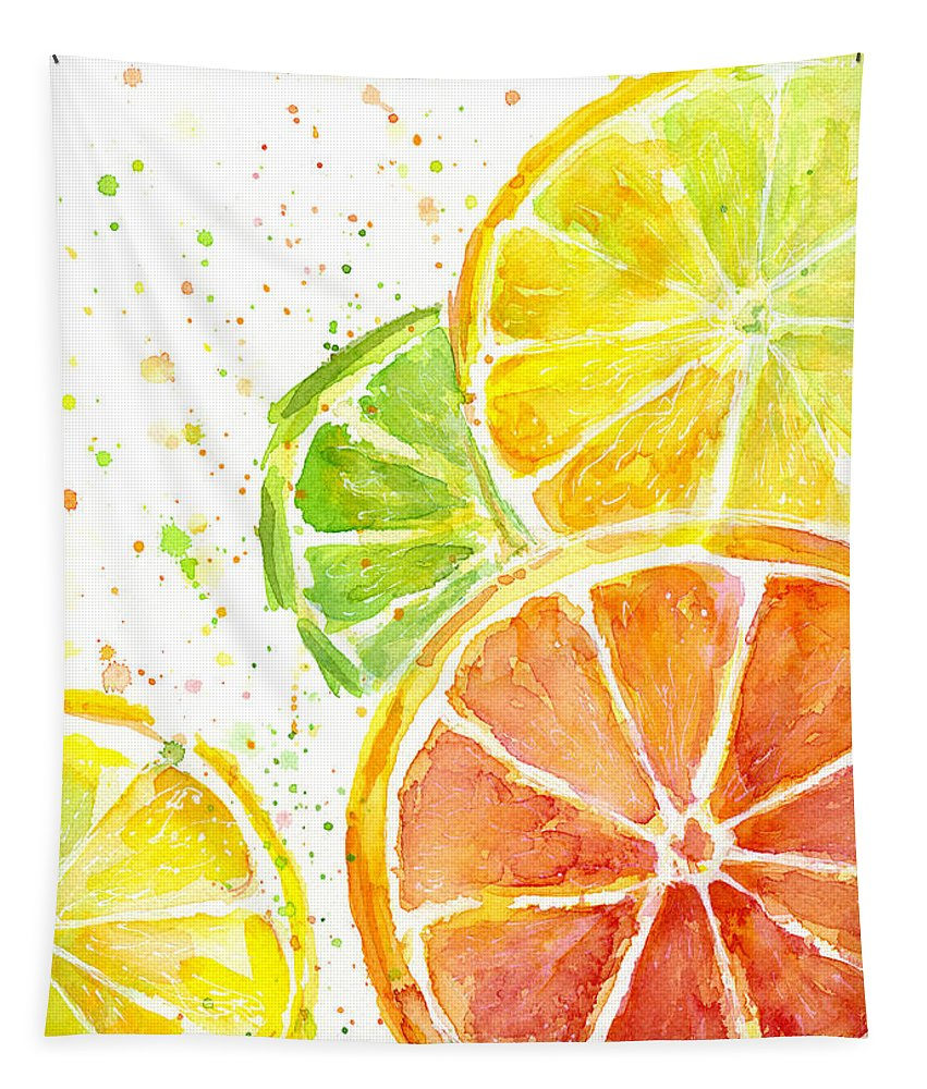 Citrus Tapestry featuring the painting Citrus Fruit Watercolor by Olga Shvartsur