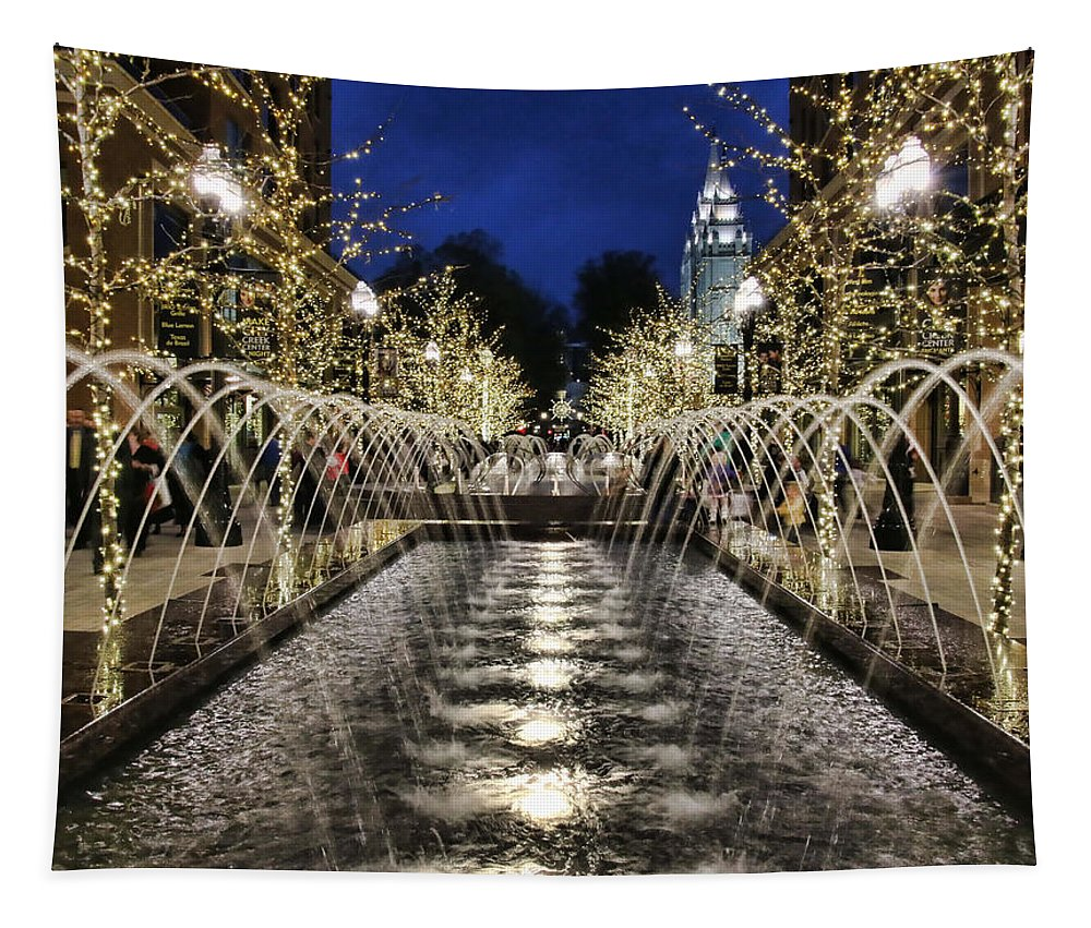 City Creek Fountain Tapestry featuring the photograph City Creek Fountain - 2 by Ely Arsha