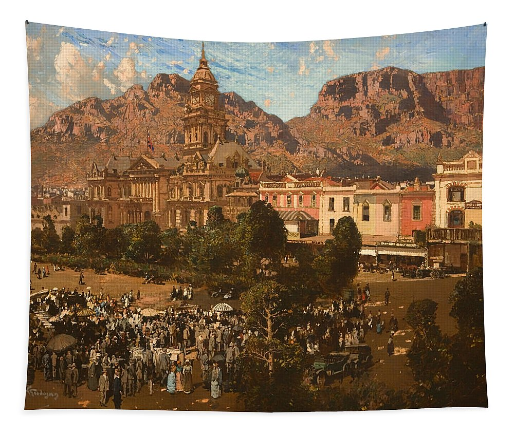 Painting Tapestry featuring the painting City Hall - Capetown 1917 by Mountain Dreams