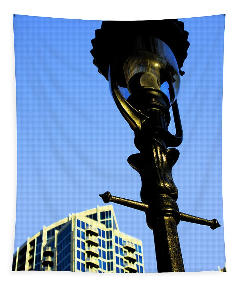 Lamp Post Tapestry featuring the photograph City Lamp Post by Karol Livote
