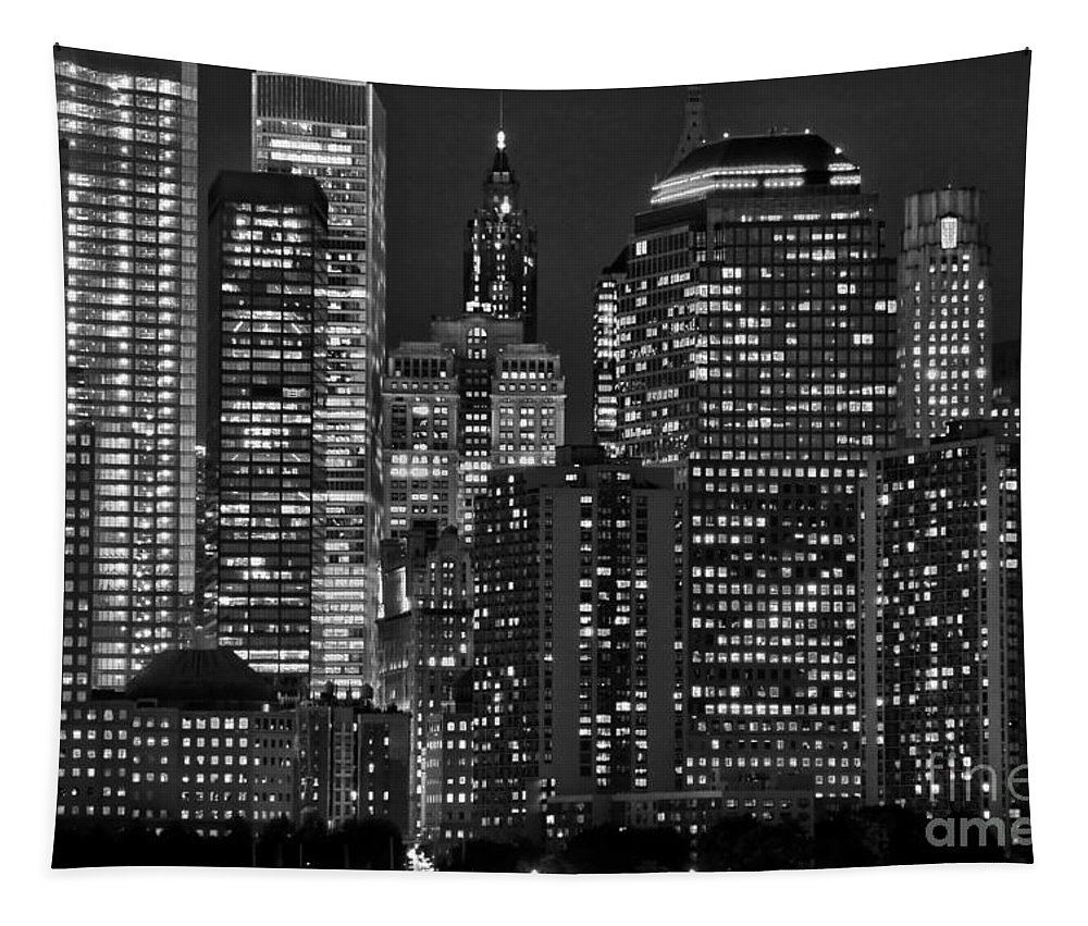 New York Tapestry featuring the photograph City Lights by Delphimages Photo Creations