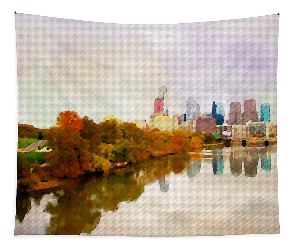 City Philadelphia Water River Scenic Alicegipsonphotographs Tapestry featuring the photograph City Of Philadelphia by Alice Gipson