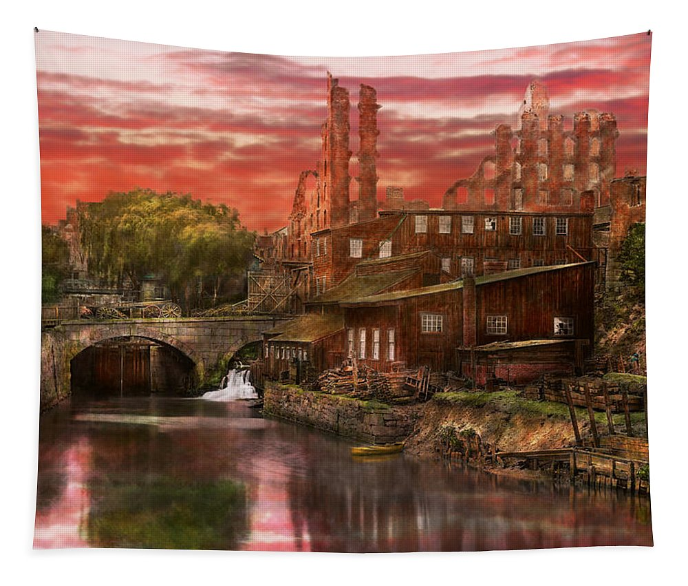 Canal Tapestry featuring the photograph City - Richmond Va - After The Fighting Stopped - 1865 by Mike Savad
