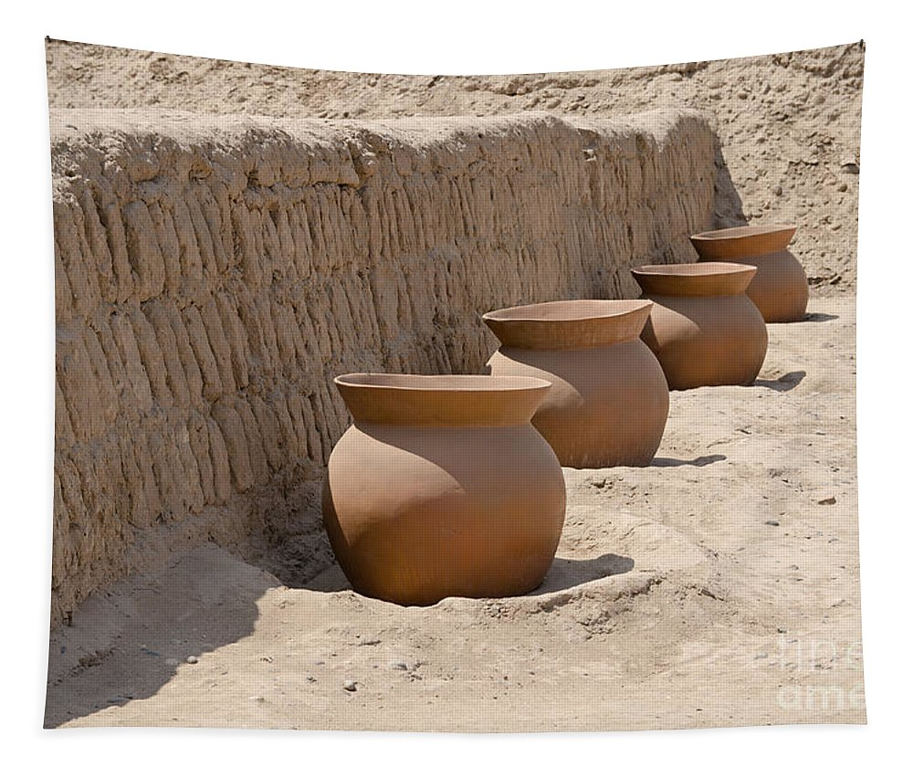 Clay Tapestry featuring the photograph Clay Pots At Huaca Pucllana In Lima Peru by Ralf Broskvar