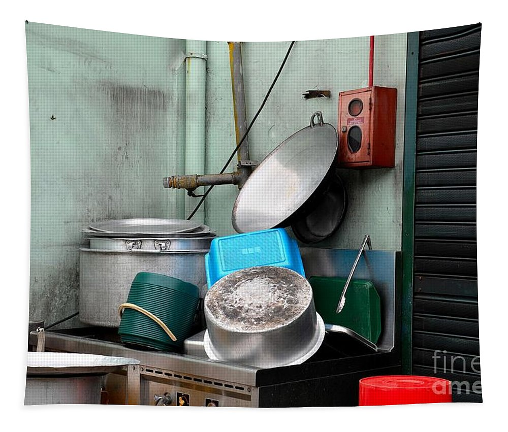 Pots Tapestry featuring the photograph Clean Pots And Pans On Outdoor Sink by Imran Ahmed
