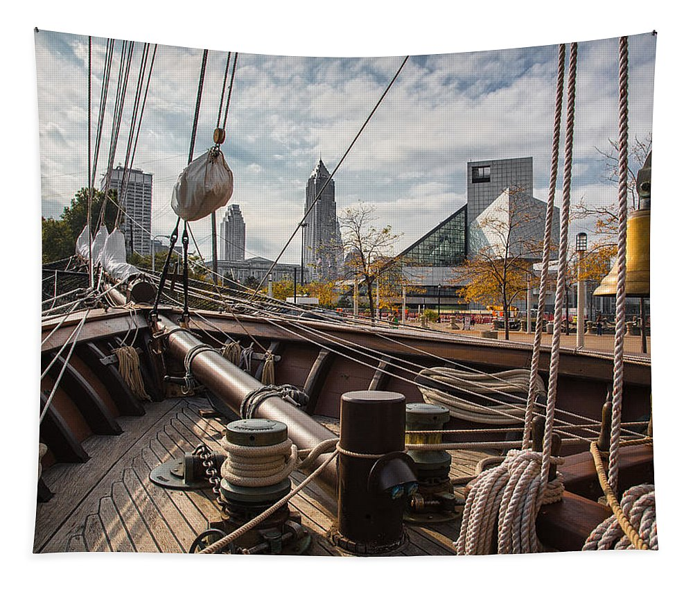 Cleveland Ohio Tapestry featuring the photograph Cleveland From The Deck Of The Peacemaker by Dale Kincaid