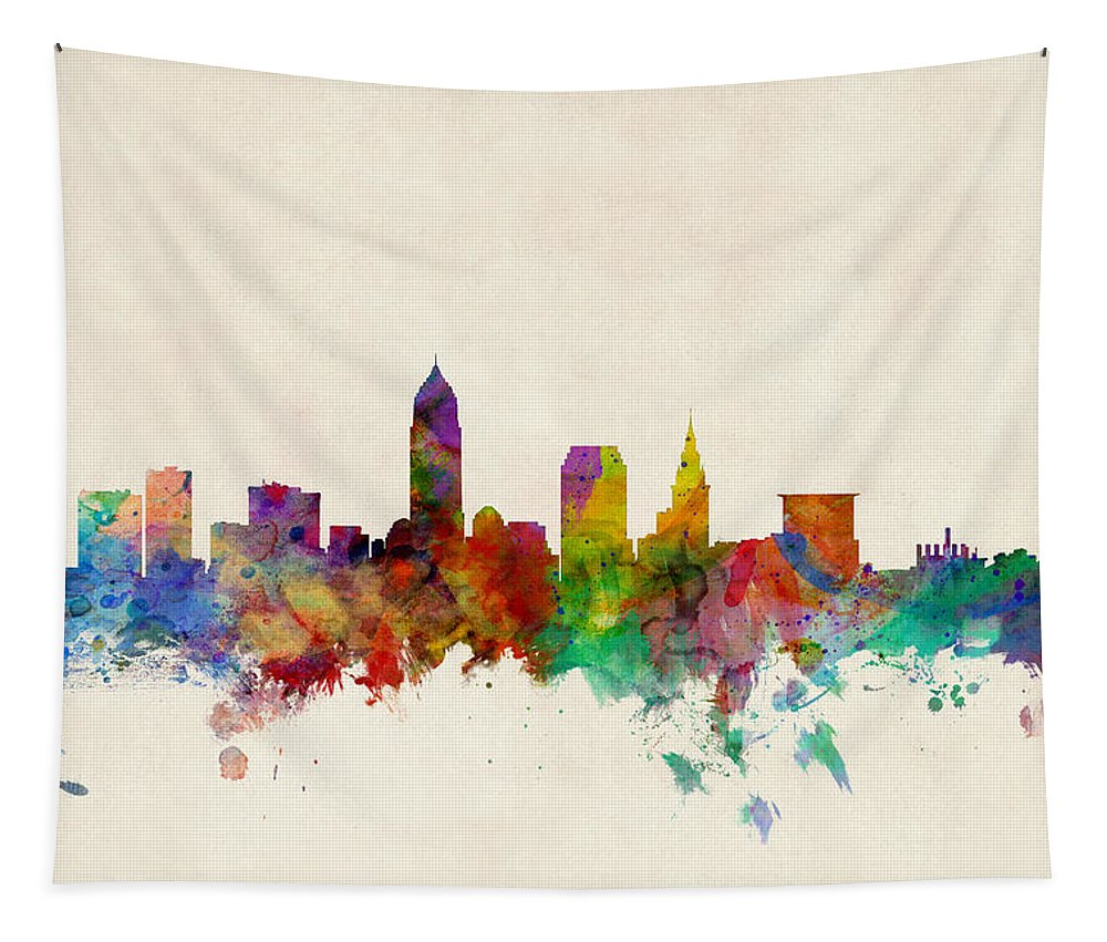 Watercolour Tapestry featuring the digital art Cleveland Ohio Skyline by Michael Tompsett
