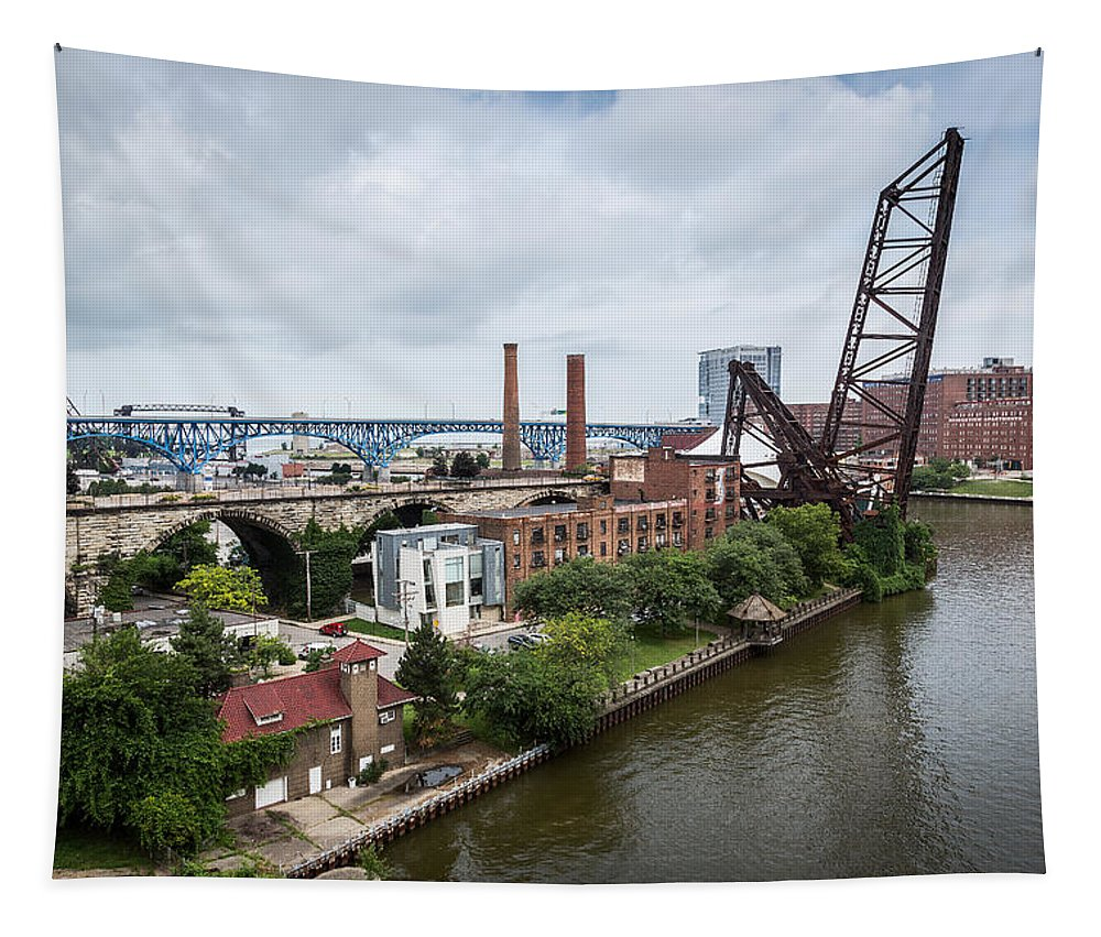 Cleveland West Bank Tapestry featuring the photograph Cleveland West Bank by Dale Kincaid