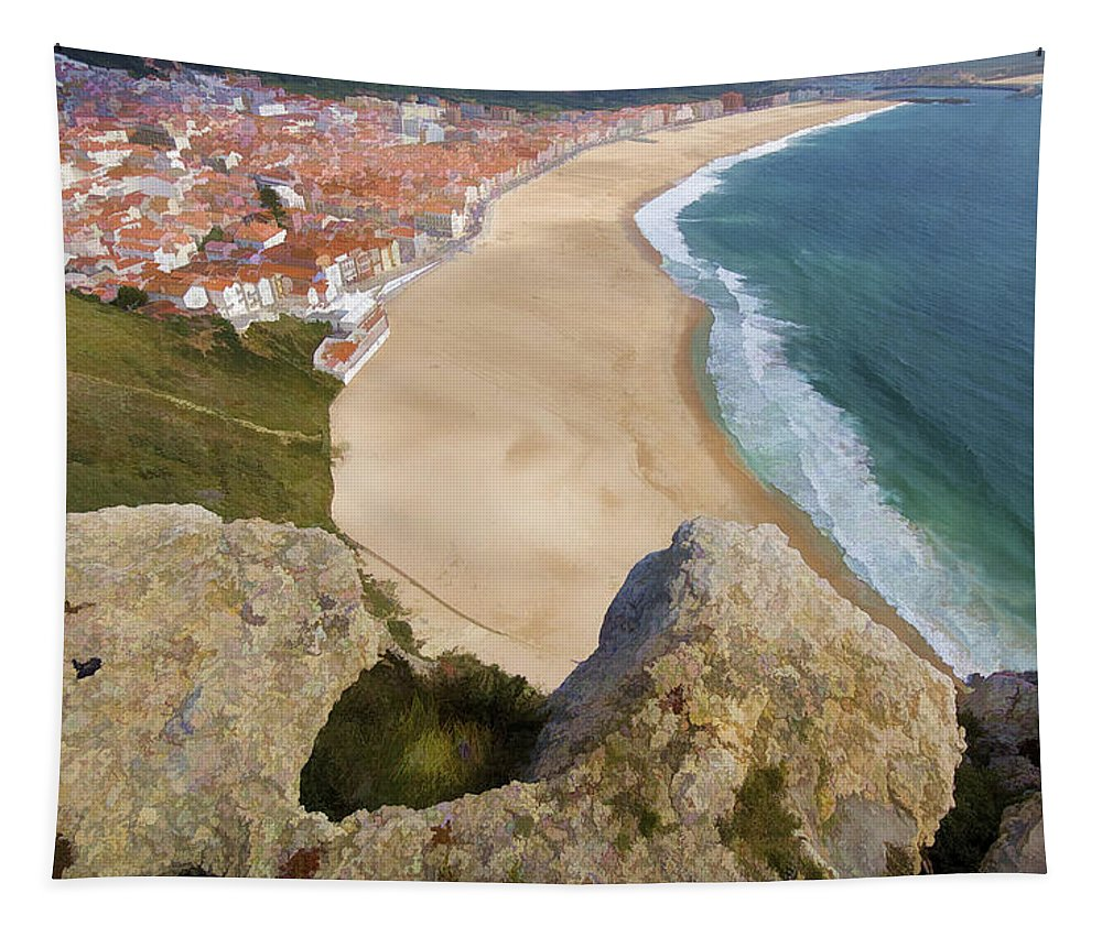 Beach Tapestry featuring the photograph Cliff Of The Seaside Village Of Nazare by David Letts