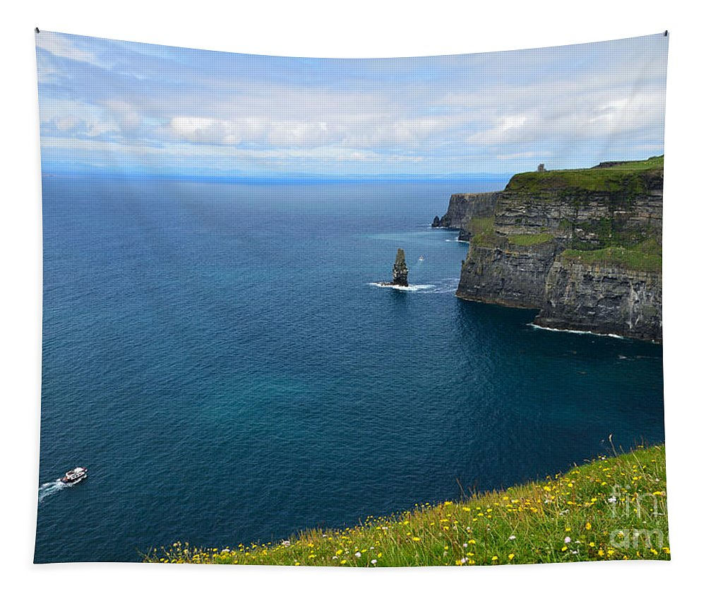 Cliff Tapestry featuring the photograph Cliffs Of Moher Looking North by RicardMN Photography