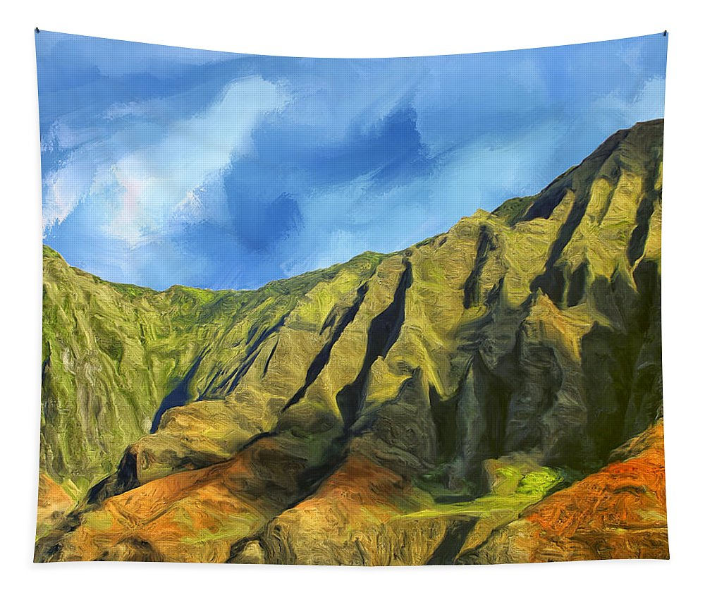 Cliffs Tapestry featuring the painting Cliffs On The Na Pali Coast by Dominic Piperata
