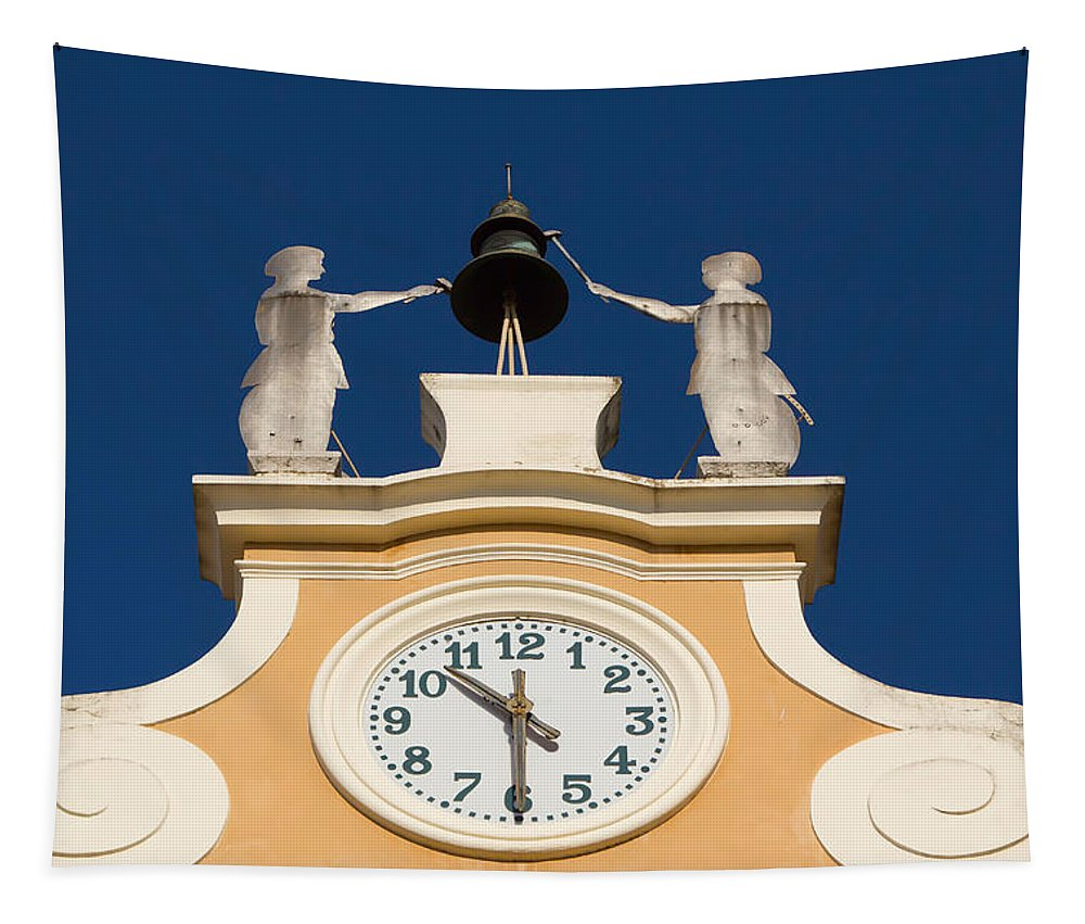 Architecture Tapestry featuring the photograph Clock Tower In Bardolino by Jaroslav Frank