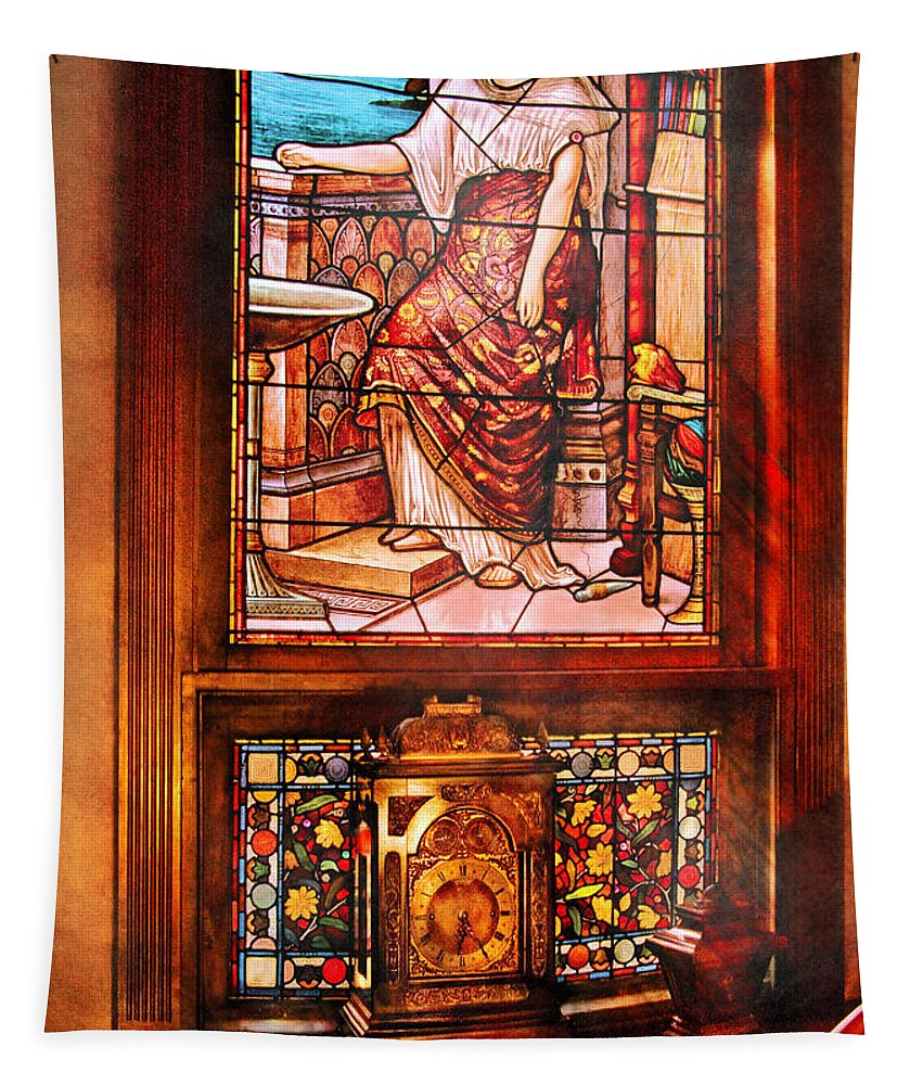Savad Tapestry featuring the photograph Clockmaker - An Ornate Clock by Mike Savad