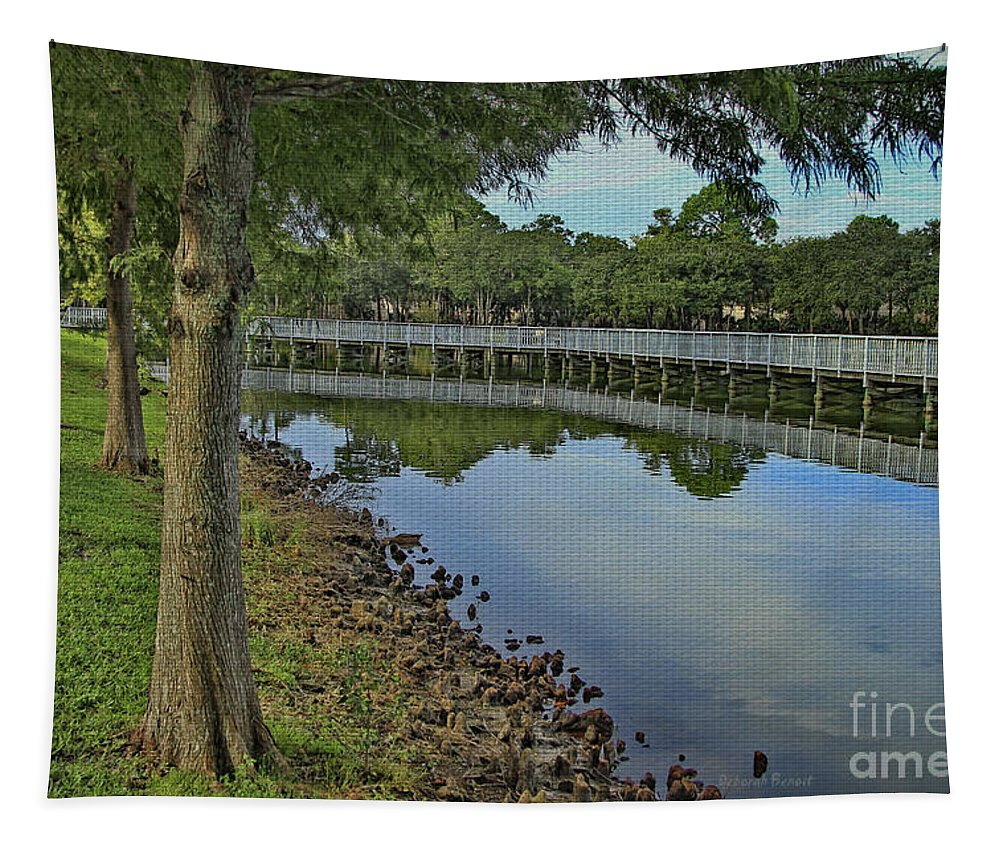 Park Tapestry featuring the photograph Cloud Reflection At The Pond by Deborah Benoit