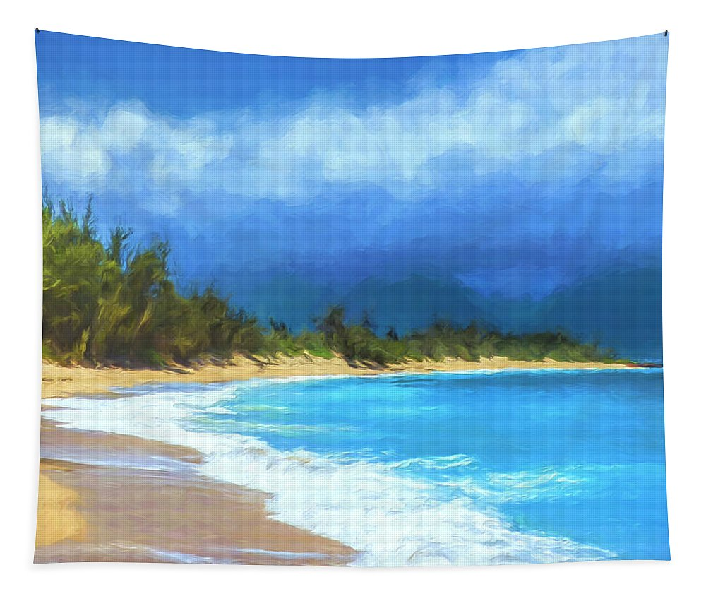 Hawaii Tapestry featuring the painting Clouds At Baldwin Beach Maui by Dominic Piperata