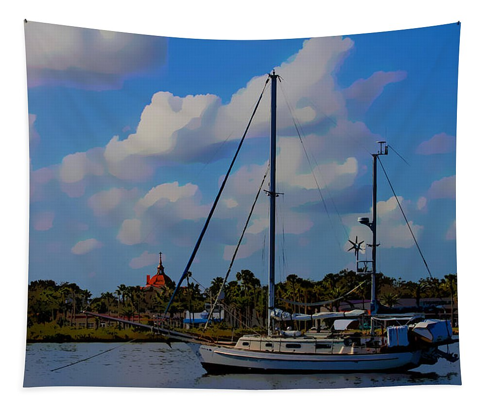 Boat Tapestry featuring the photograph Clouds On The Water by Alice Gipson
