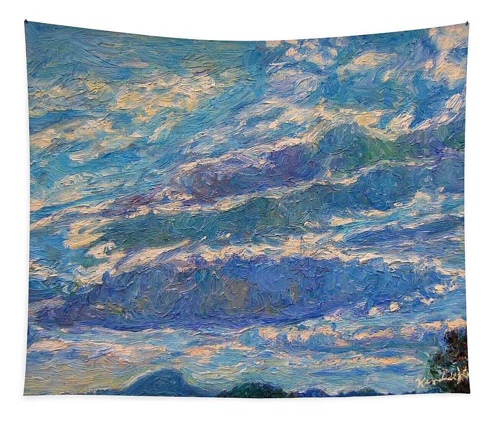 Mountains Tapestry featuring the painting Clouds Over Buffalo Mountain by Kendall Kessler