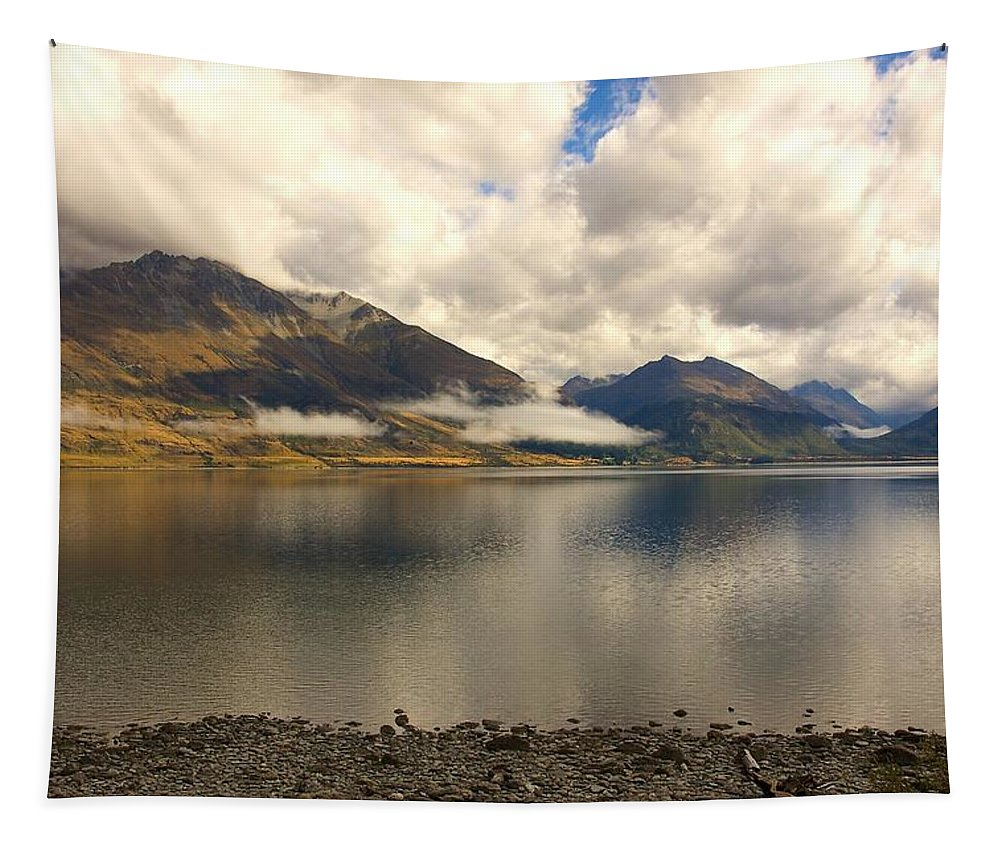 New Zealand Tapestry featuring the photograph Clouds Over Wakatipu #1 by Stuart Litoff