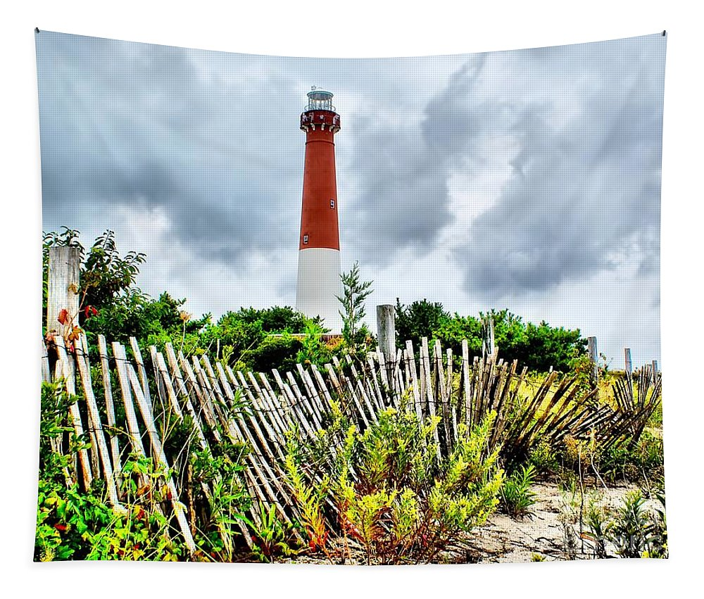 Architecture Tapestry featuring the photograph Cloudy At Barnegat Light by Nick Zelinsky