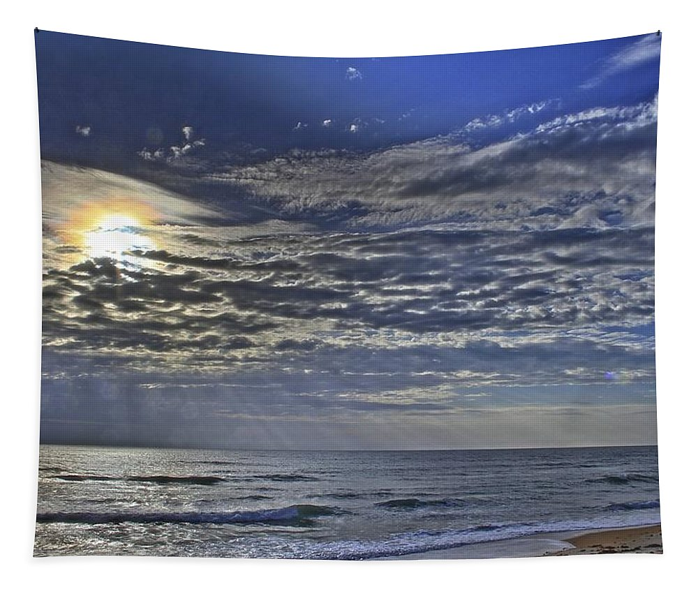 Beach Clouds Ocean Flagler Beach Tapestry featuring the photograph Cloudy Day At The Beach by Alice Gipson
