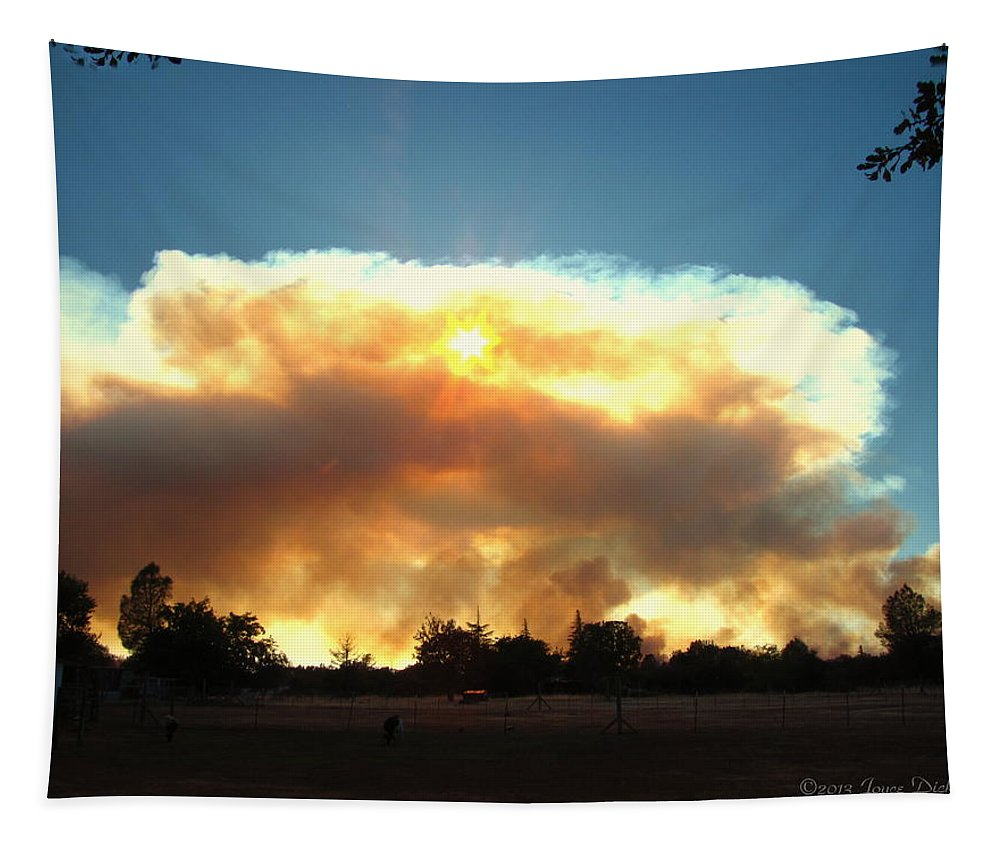 Fire Tapestry featuring the photograph Clover Fire At 5 25 Pm by Joyce Dickens
