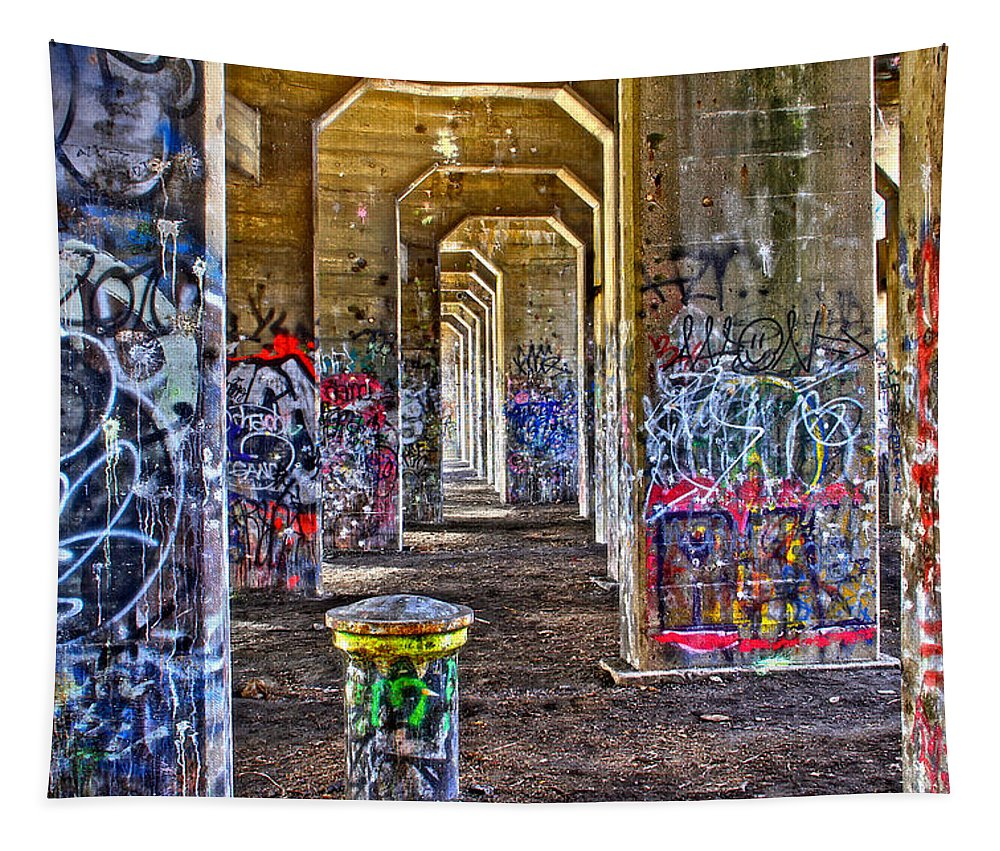 Coal Piers Bridge To Nowhere Grafitti Graphic Philadelphia Tapestry featuring the photograph Coal Piers by Alice Gipson